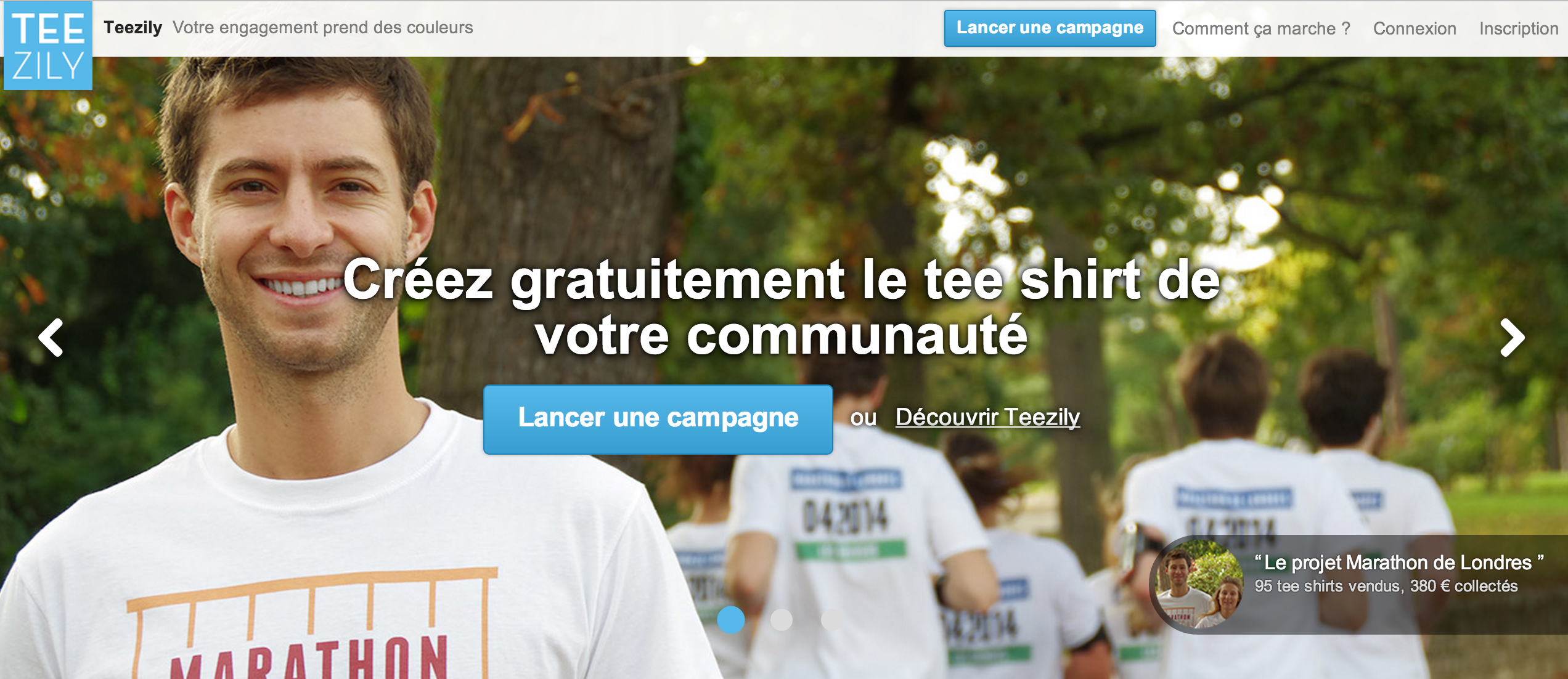 Page d'accueil Teezily Crowdfunding