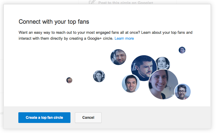 Create a top fan circle on your Google+ page