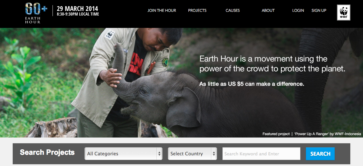 Crowdfunding Ecologie Earth Hour Blue