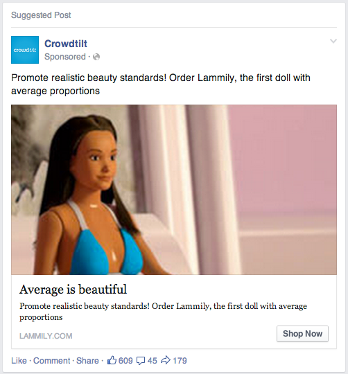 Pub facebook crowdfunding Lammily