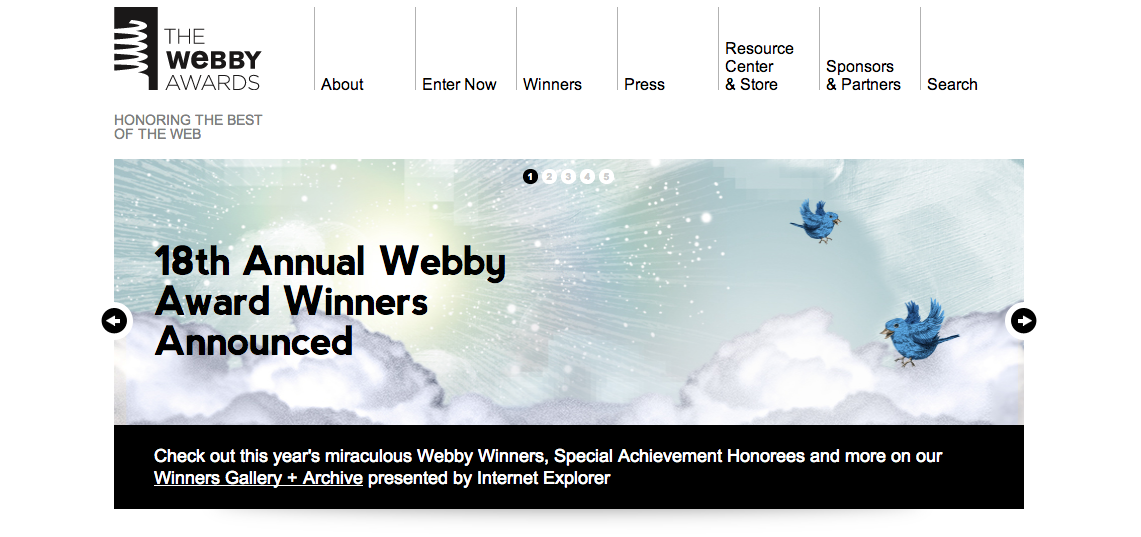 The Webby Awards home page