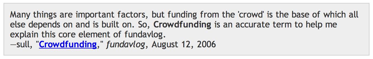 Le mot crowdfunding utilisé pour la première fois par Michael Sullivan