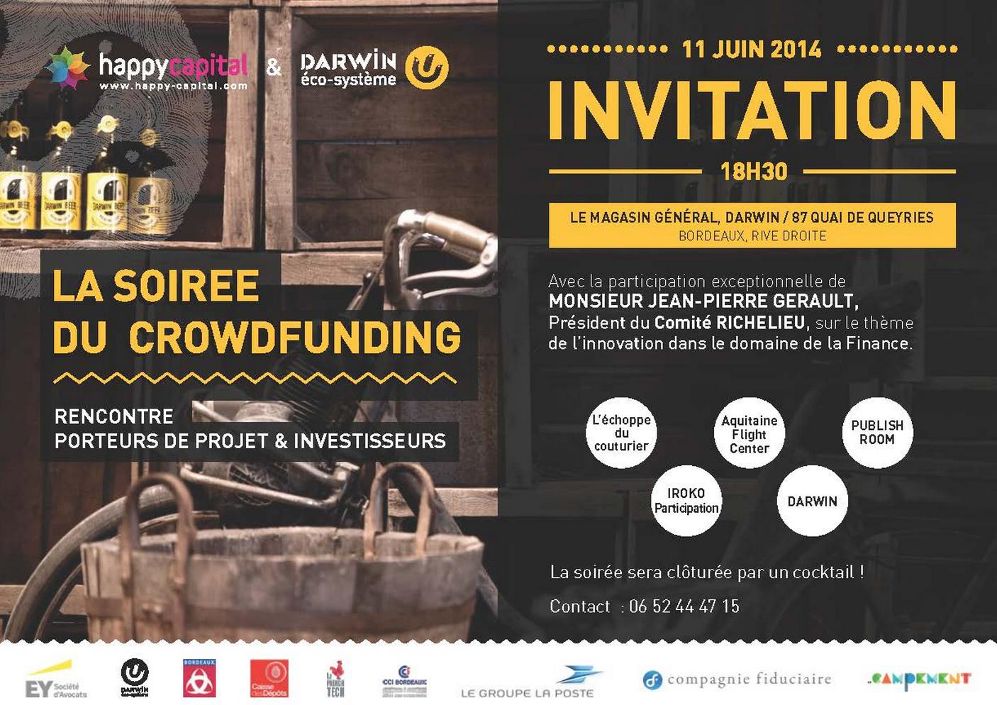"""Soirée du crowdfunding. Thème : """"L'innovation dans la Finance"""""""