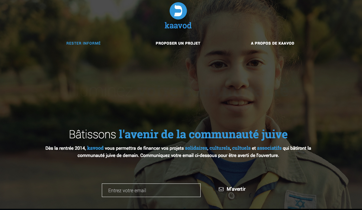 Page d'accueil Kaavod Crowdfunding